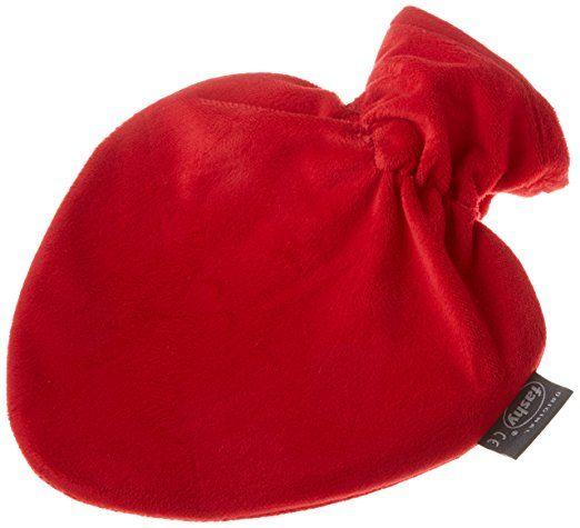 Fashy 6510 Borsa dell'acqua calda a forma di cuore con federa in velluto, 0,7 l, colore: Rosso