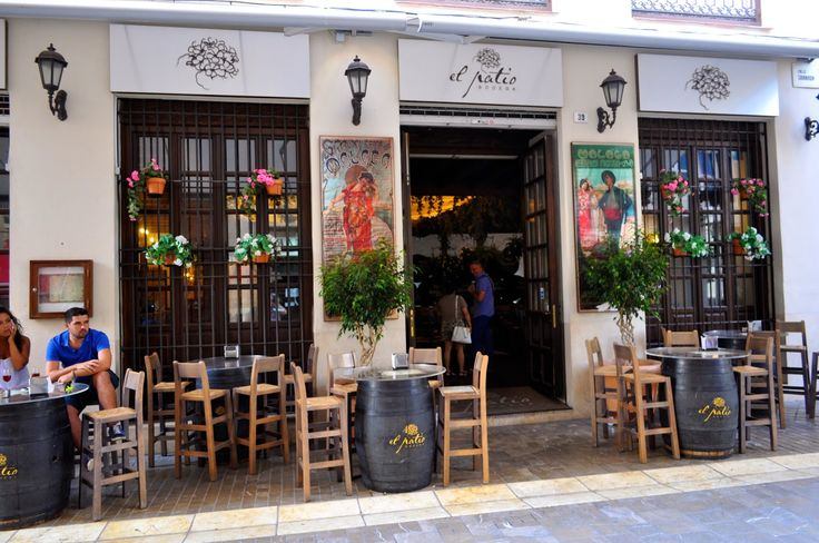 Restaurant El Patio Malaga. Hours: daily from midday to midnight. Friday and Saturday until 1 am. Delicious food in a cosy restaurant in the heart of the historic centre. The restaurant has a terrace at the front. The interior is light and delightfully Spanish. Casks filled with Málaga wines are lined up behind the bar. Bodega el Patio is perfect for typically Spanish rice dishes, a large selection of tapas, salads, meat and fish. www.travelguidemalaga.com