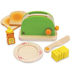 Super-cute pop-up wooden toaster from Hape! Just pop slices of bread in the toaster, spread with butter, and top it all off with some sweet honey. It's the perfect start to another fine day.  Get it!: http://www.mastermindtoys.com/Hape-Pop-Up-Toaster.aspx