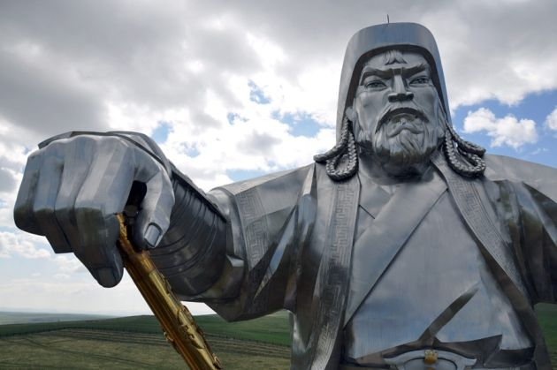 A colossal statue of Genghis Khan, warrior and founder of the Mongol empire, outside Ulan Bator.