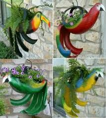 Cool Parrot Planters made out of recycled tires!