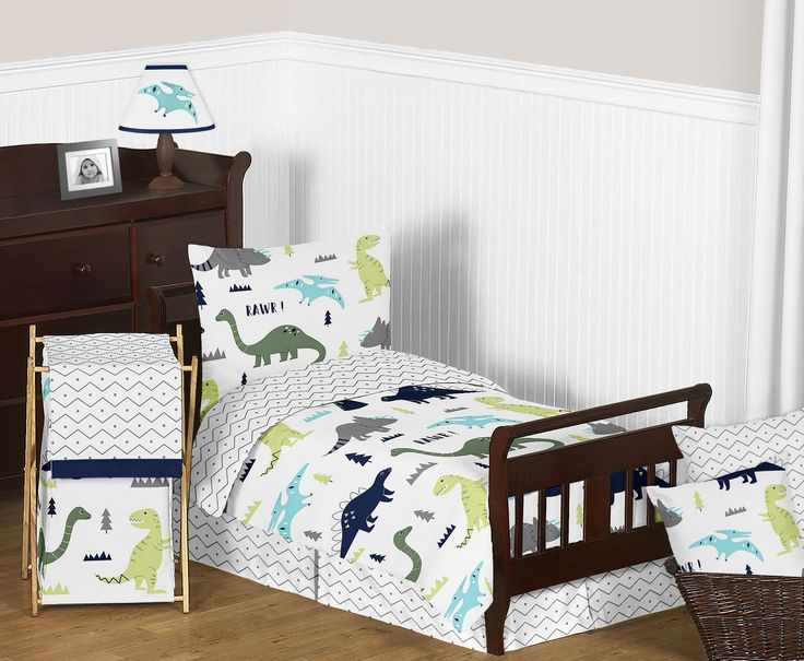 Rawr Blue Green Dinosaur Toddler Bedding - 5pc Bed in a Bag Comforter Set