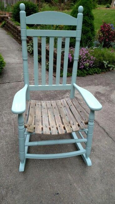 Rocking chair DIY! I ripped out the old rotten seat and replaced with weathered pallet wood cut into slats. Painted with my own homemade chalk paint in a ...