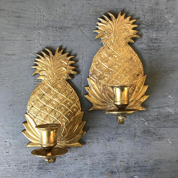 vintage brass candle sconces - pineapple candle holders - gold tiki tropical wall decor