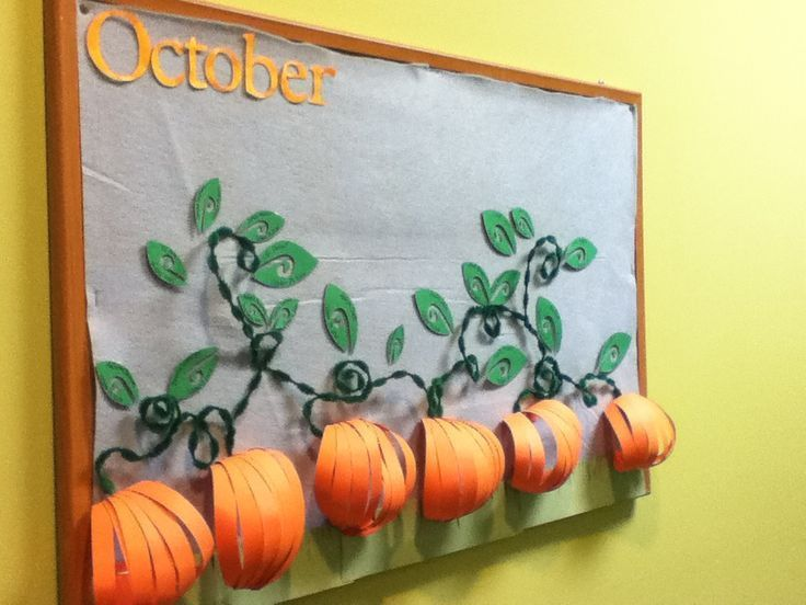 This was my October bulletin board. The leaves have the names of people with birthdays in the month of October. pinned with Pinvolve - pinvolve.co