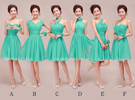 Custom Made Bridesmaid Dress, Turquoise Chiffon Bridesmaid Dress, A-line Short Bridesmaid Dress