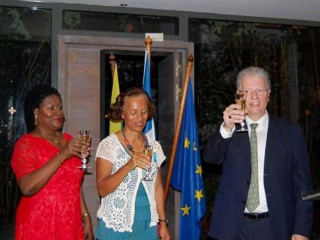 Dr Jessica Byron (centre) and Dr Paulette Ramsay (left) received the French Order of Merit (Ordre national du Mérite) conferred in the rank of Chevalier (knight) at the Embassy of France in Kingston, Jamaica.