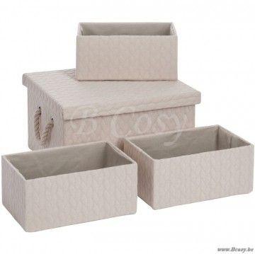 """J-Line Set van 4 rechthoekige beige dozen 35 <span style=""""font-size: 0.01pt;"""">Jline-by-Jolipa-55163-landelijke-stijl-dekoratie-online-winkels-online</span>"""