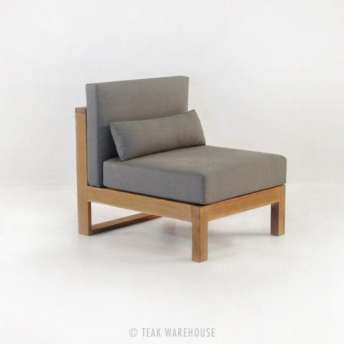"$995  W27"" x D32"" x H31""  Pacific Teak Outdoor Sectional Armless Chair (Center)"
