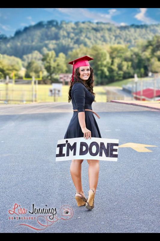 But at the bridge, with all senior grads, each girl has a sign with her degree