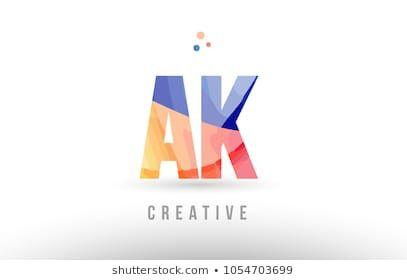 orange blue alphabet letter ak a k logo combination design with dots