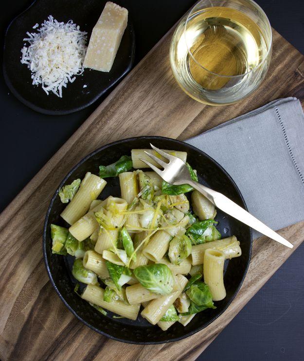 Rigatoni w/brussel sprouts, leaks, lemon and parmesan