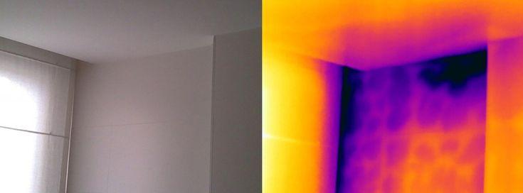 Humedades por condensación tras los azulejos de la cocina que causaban problemas en una vivienda, revelados gracias a una imagen termográfica - High Quality Homes