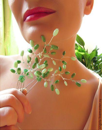 Необычные декоративные шпильки для волос. Шпильки для волос зеленого цвета.  Свадебные шпильки для волос зеленого цвета. Шпильки для волос в весеннем стиле.