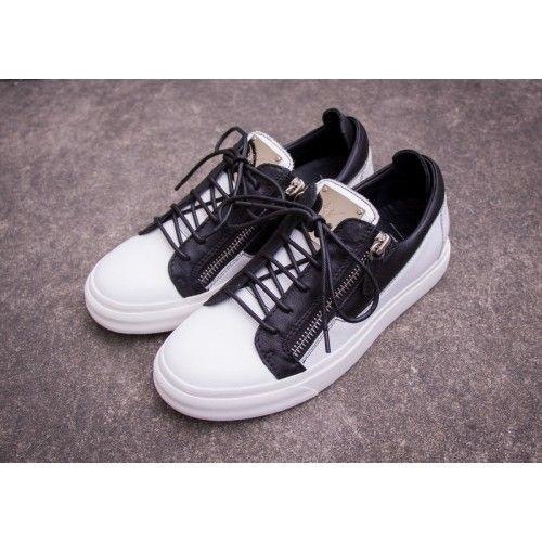 Giuseppe Zanotti Sneakers White Black Cheap Low Top Mens Shoes