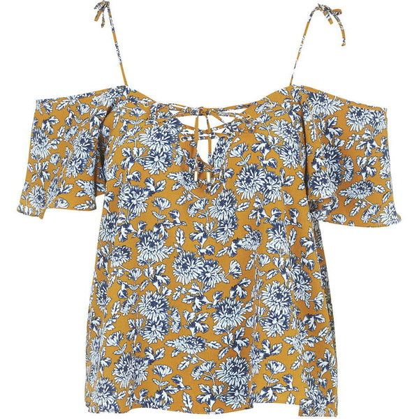 TOPSHOP Lattice Front Floral Bardot Top (66 CAD) ❤ liked on Polyvore featuring tops, mustard, floral print top, mustard top, flower print tops, mustard yellow top and topshop tops