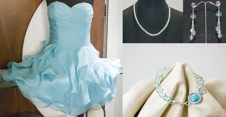 Voglia d'estate....  Un abito Alba Atelier color acqua marina con girocollo in perle. Bracciale e orecchini in pietra acqua marina.