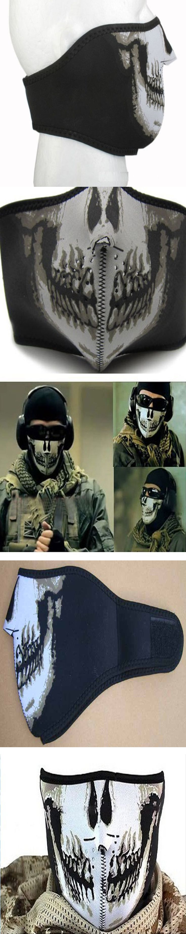 Useful Skull Half Face Mouth Mask Ski Snowboard Motorcycle Headwear Protection
