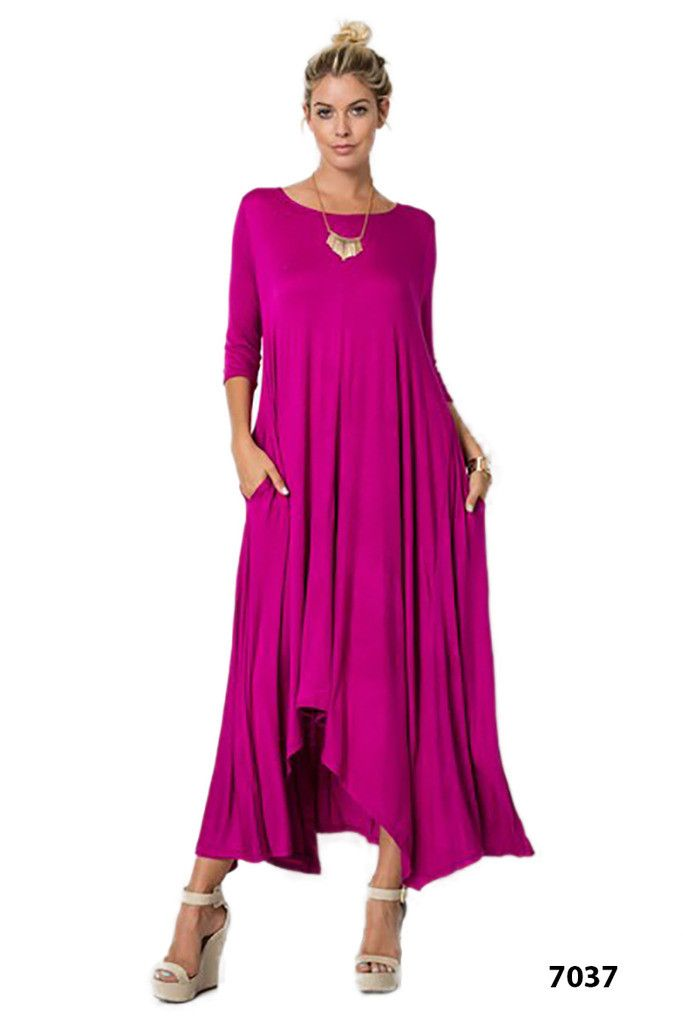 Asymmetrical Dress Flowy 3/4 Sleeve Drape Slouch Pocket Boho Women Piko Dress