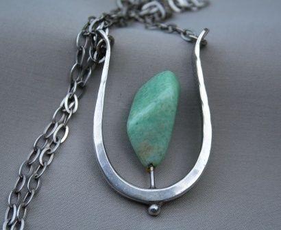 Anheng i kjede. Sterling sølv med amazonitt. Anna Greta Eker, Norway Silver Designs, Plus, Fredrikstad