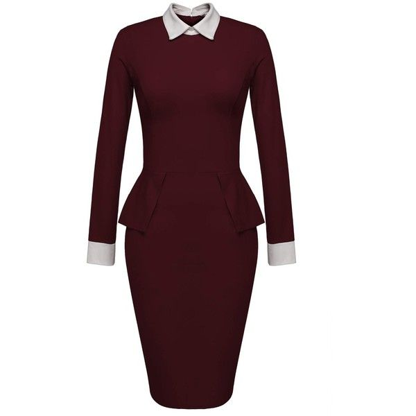 Women's Formal Contrast Color Long Sleeve Pencil Business Dress Wine... ($27) ❤ liked on Polyvore featuring dresses, longsleeve dress, brown formal dress, red long sleeve dress, red pencil dress and formal dresses