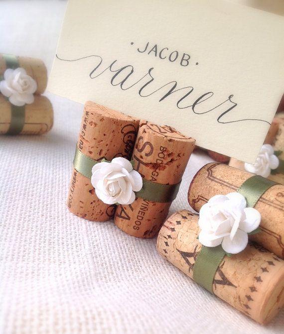 White & Sage, Wedding Place Card Holders Set of 10 Wine Corks for Wedding Reception or Bridal Shower