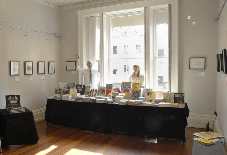 Mr B's Emporium of Reading Delights set up shop in the foyer, selling the best design books around. That's Mr B waving...