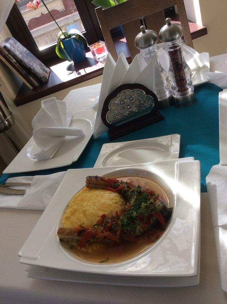 Pickled crap fillet with polenta served in our restaurant