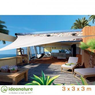 Voile triangulaire 3m - ivoire - 140 g/m² - Traitement anti-UV 50+