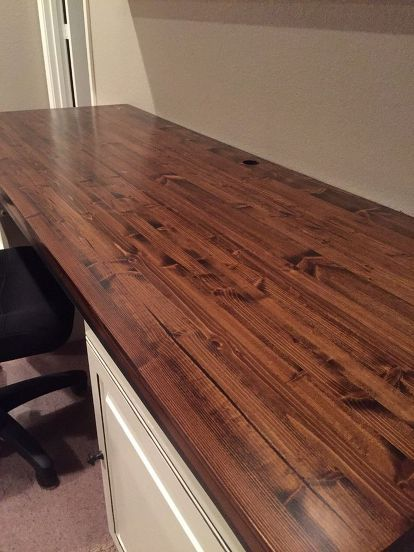 butcher block for our computer desk for 50 00, countertops, painted furniture
