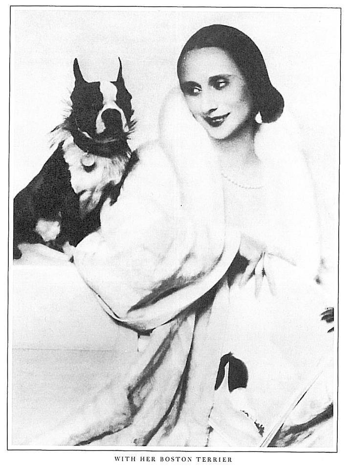 Anna Pavlova with her Boston Terrier