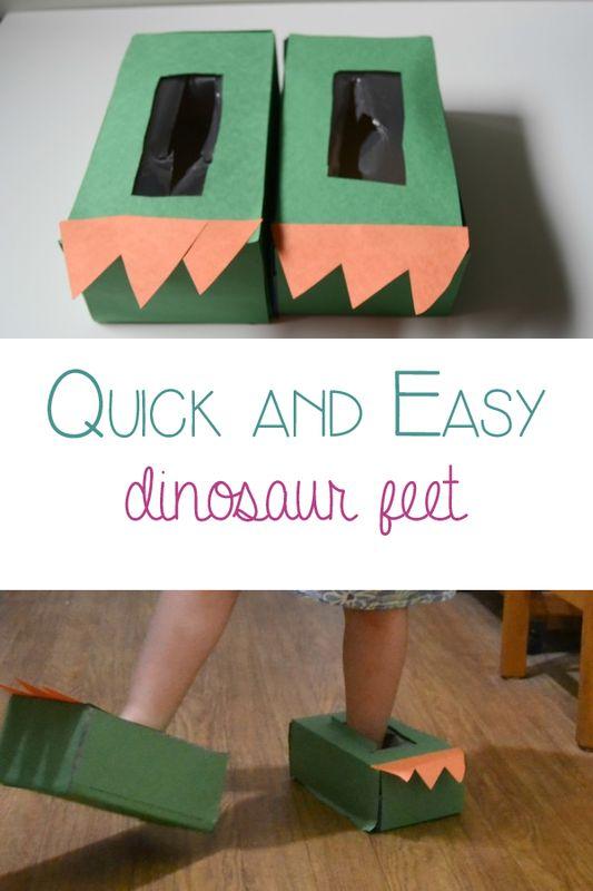 Easy to make dinosaur feet for pretend play