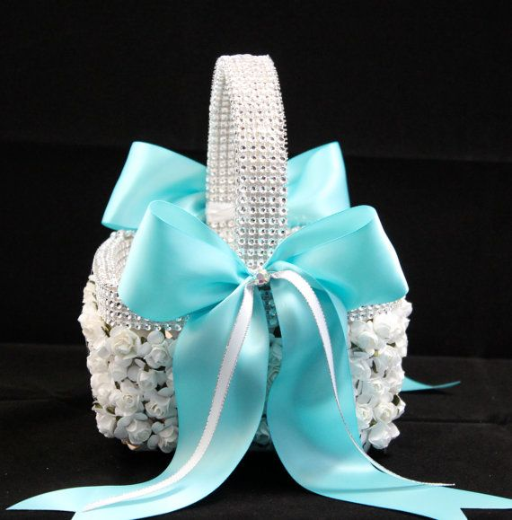 Tiffany Flower Girl Basket / Tiffany Wedding by CeremonyDeluxe,