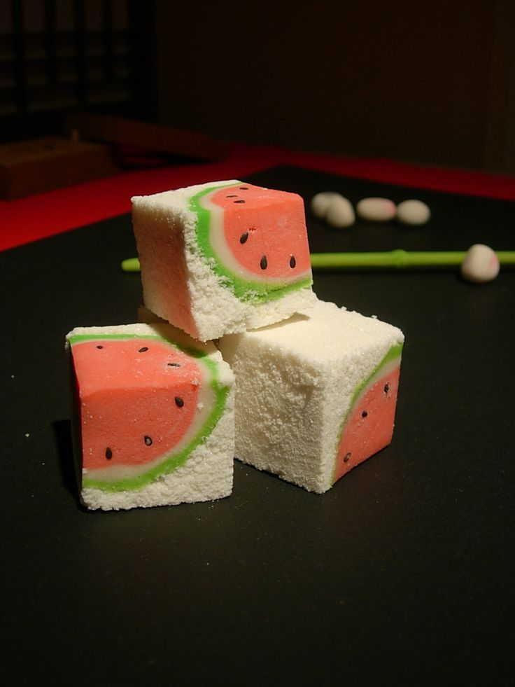 Watermelon wagashi. Wagashi (和菓子) is a traditional Japanese confectionery which is often served with tea, especially the types made of mochi, azuki bean paste, and fruits.