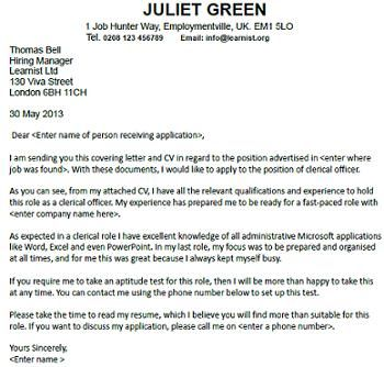 clerical job cover letter - Template