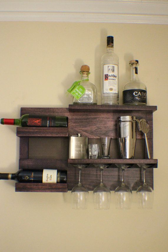 Stunning Dark Cherry Stained Wall Mounted Wine And Liquor