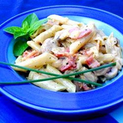 This creamy bacon, pesto and mushroom pasta will leave you wanting more!