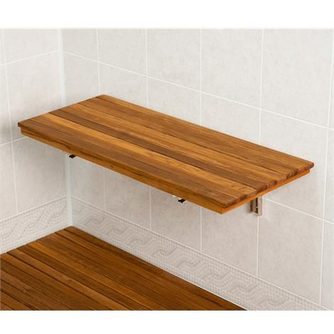 Teakworks4u Wall Mount Fold Down Teak Shower Bench: It mounts directly to the wall, either inside or outside of the shower. The 304 stainless steel mounting brackets are designed to lock securely when the seat is lifted and folds down easily when not in use.