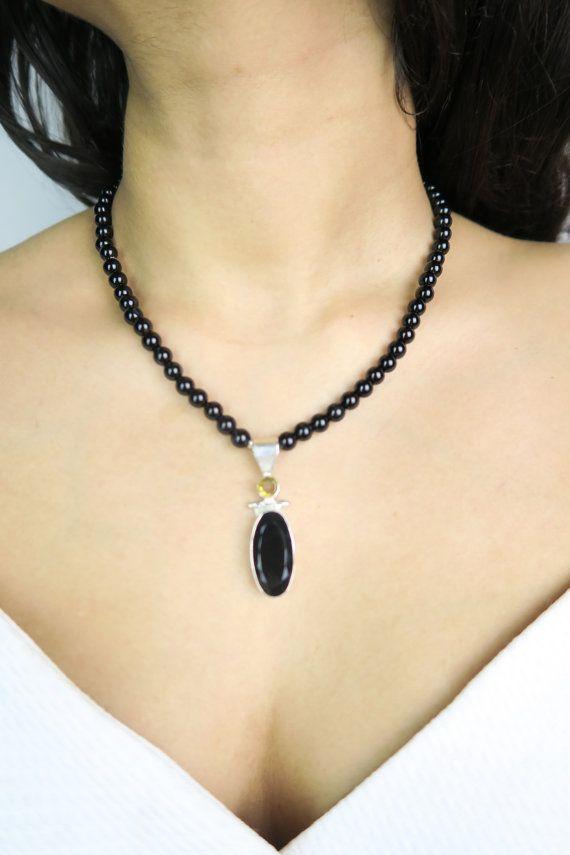 Style Fashion Chic Handmade black pendant necklace  Onyx gemstones  Black by SZJewels