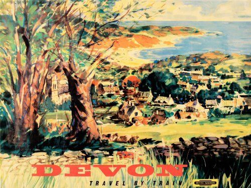 TRAVEL TOURISM TRANSPORT DEVON SCENIC COASTAL VILLAGE PAINTING TRAIN RAIL UK 30X40 CMS FINE ART PRINT ART POSTER BB9985, http://www.amazon.co.uk/dp/B00GKCLVXW/ref=cm_sw_r_pi_awdl_riHGtb1WWAQ22