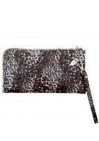 Beaufoy -- Black Patent Leather Purse/Wallet with Leopard Print