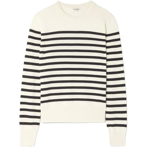 Saint Laurent Marino striped cashmere sweater found on Polyvore featuring tops, sweaters, wool cashmere sweater, cashmere top, stripe sweater, striped sweater and breton sweater