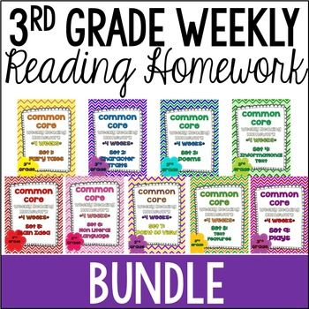3rd Grade Reading Homework that is Common Core Aligned! This is a bundle of all 9 sets of my common core weekly reading homework reviews for the 3rd common core standards.