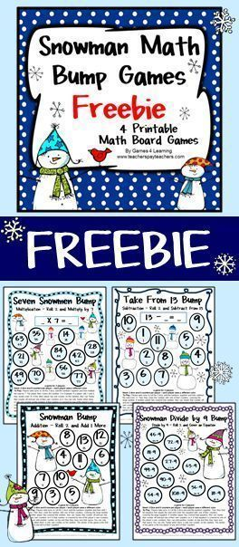 FREEBIE: Snowman Math Bump Games from Games 4 Learning gives you 4 Snowman Math Board Games that are perfect for winter or Christmas math activities.