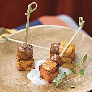 Sweet Potato Squares With Lemon-Garlic Mayonnaise | MyRecipes.com