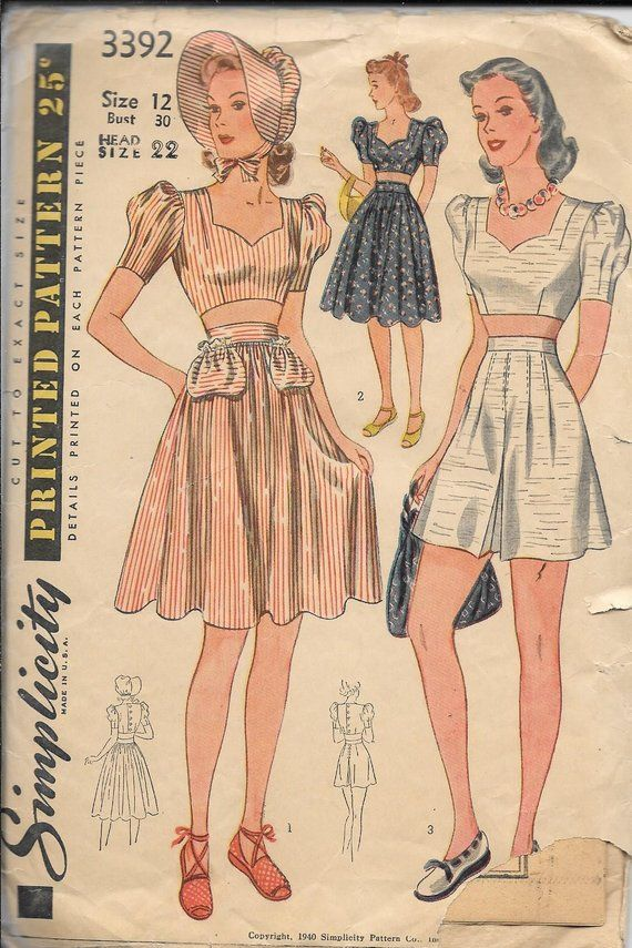 9c54e6b51d1 Vintage 1940s Simplicity 3392 Midriff Top And Skirt Or Shorts Skort 2-Pc  Dress Sewing Pattern Size 12 Bust 30