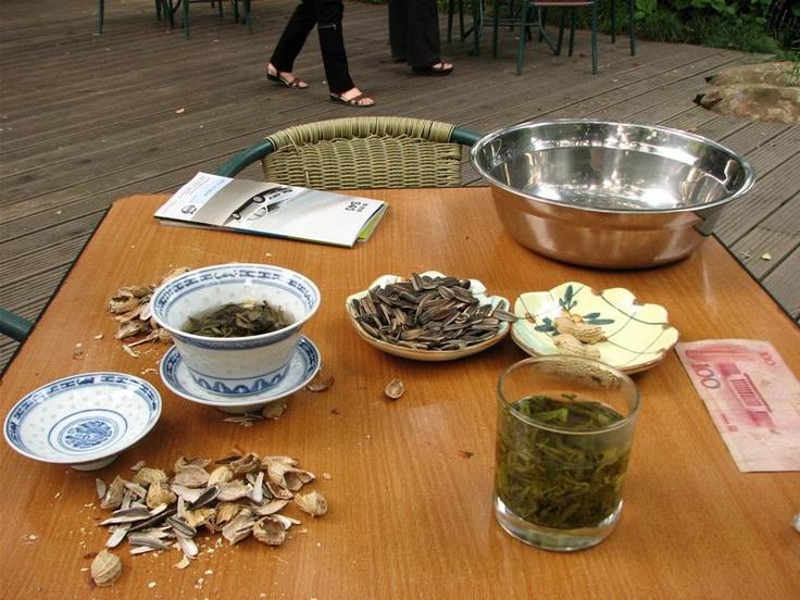 Longjin and Mo Li Hua (Jasmin) tea, near the Tea Museum, Hangzhou. With my friend Zhang Min