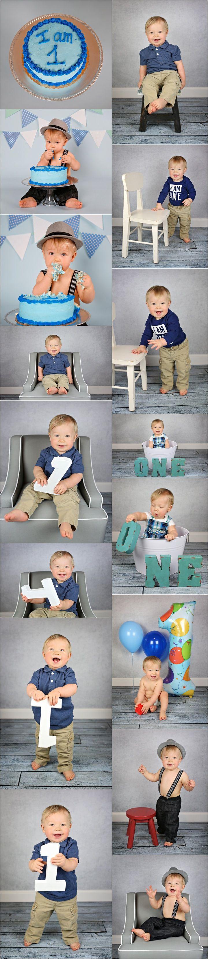 1 Year Old Boy Photo Shoot Ideas & Poses - Indoor Session - Cake Smash - Billings, MT Child & Portrait Photographer