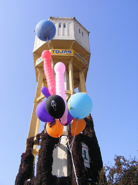 # 78 a historical landmark. Siofok water tower, 1912. It is 45m high so it really is a landmark in this flat town. It now houses the local Tourist Information Office but no water.  Tenuous link- balloons     Siófok,