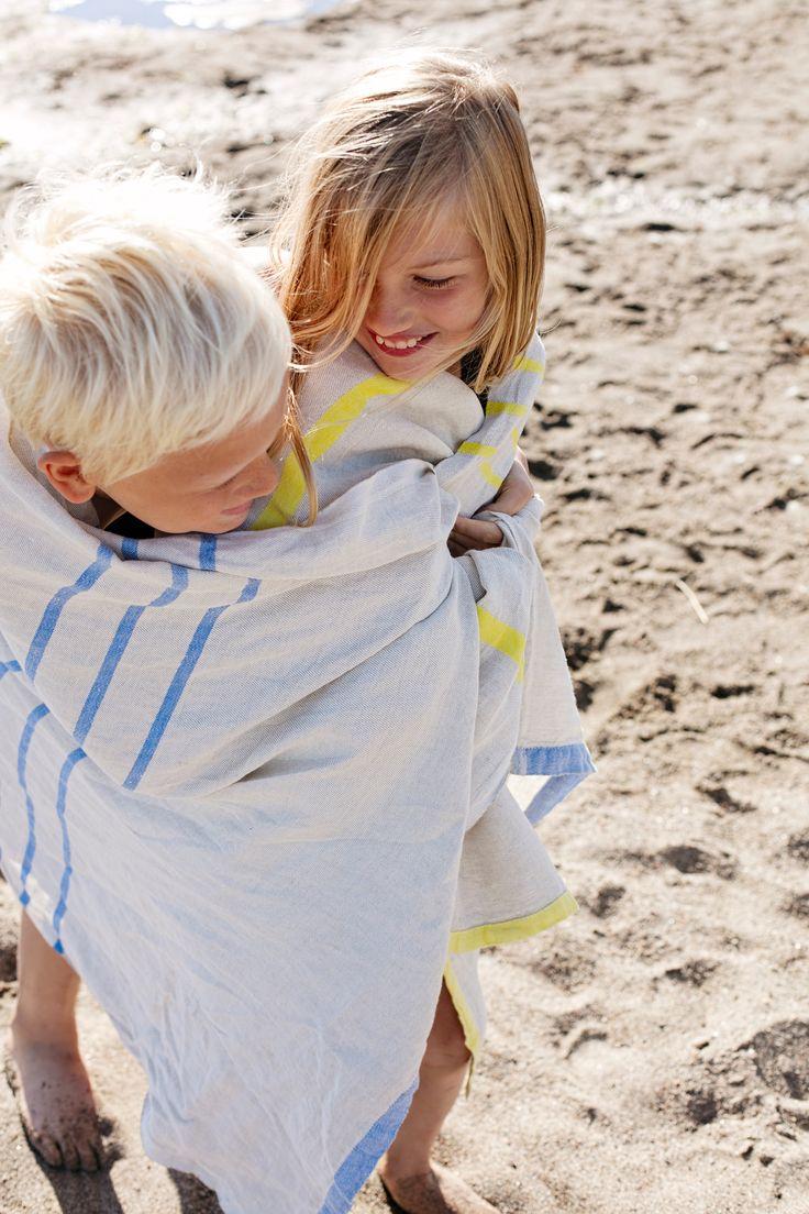 Summer! Holiday! Beach! Friends! USVA beach towel, 100% washed linen, design Anu Leinonen, woven in Lapua Finland